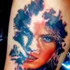 half woman face drawing - tattoos ideas