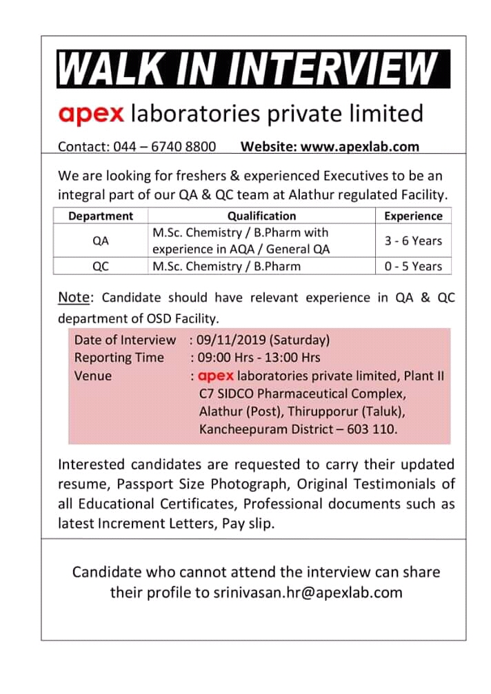 APEX LABORATORIES PVT LTD. – Walk in interview for Fresher & Experienced – QA | QC on 09th Nov' 2019