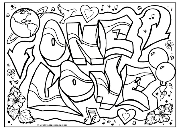 Free Coloring Page Graffiti Printable Free Graffiti Tutorials