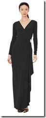Lauren Ralph Lauren black long sleeved wrap evening dress