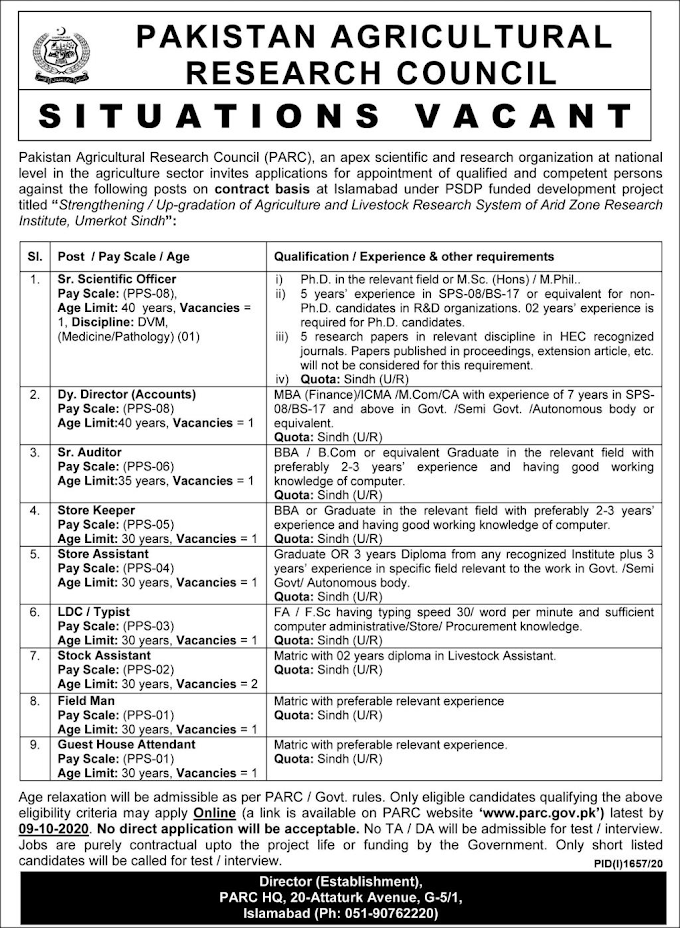 Pakistan Agricultural Research Council PARC Jobs October 2020