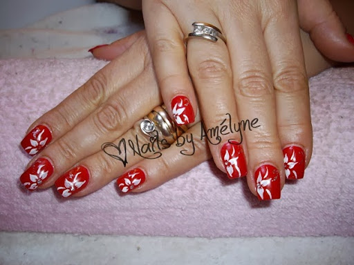 Red  Hand Painted White Flowers