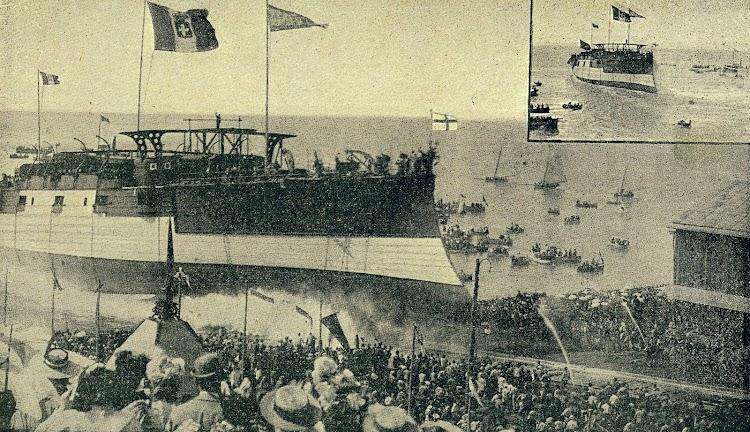 Botadura del CRISTOBAL COLON. De la Revista de Navegación y Comercio. Año 1896.JPG