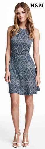 Vestido corto de punto estampado, en poliéster - elastano