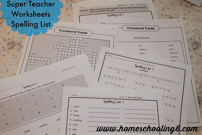 Super Teacher Worksheets Spelling List