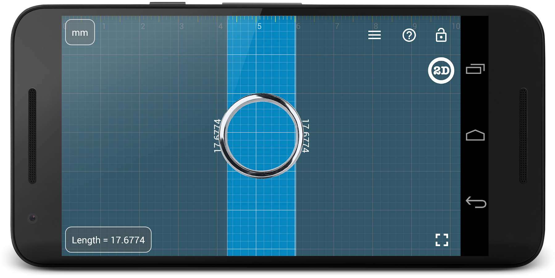 Millimeter Pro ruler on screen- screenshot