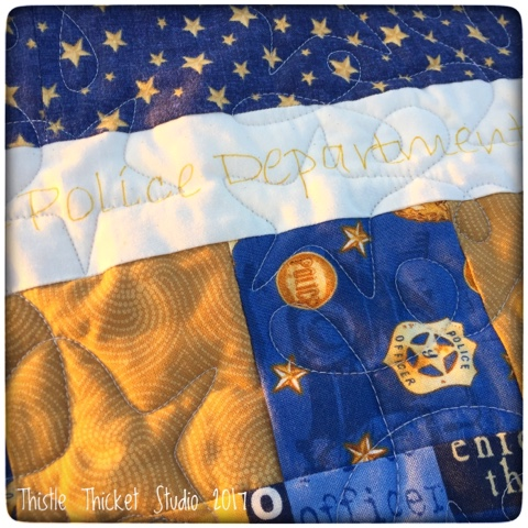 Thistle Thicket Studio, police quilt, the boys in blue quilt, yellow brick road quilt pattern