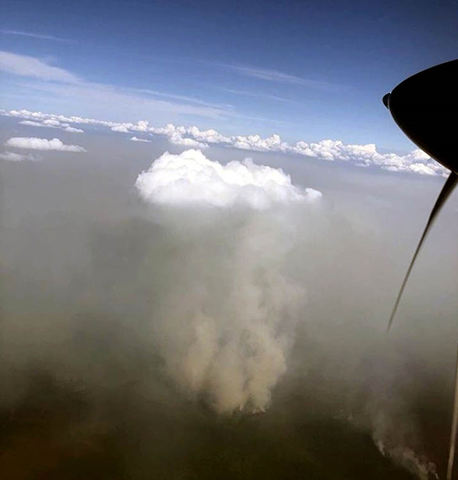 'The taiga is burning.' Aerial view of forest fires in Siberia, in July 2018. This is Vanavara, Tura, and Boguchansky district. Photo: Vitalij Boykov / The Siberian Times
