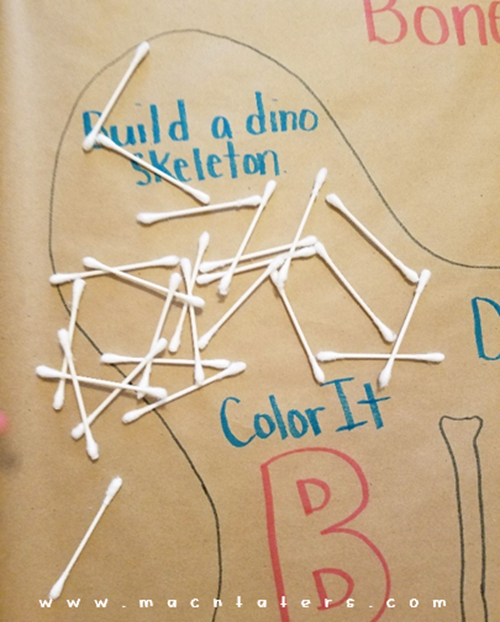 Build a Qtip Dinosaur Skeleton: B is for Bones Activity Mat for Kids