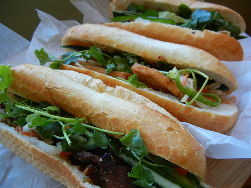 BBQ pork ($2.50), tofu ($2) and chicken ($2.25) banh mi from Seattle Deli, Edmonds NL