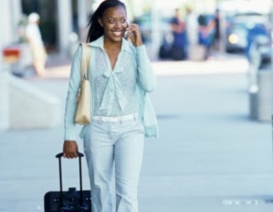black business woman traveling