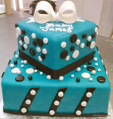 Teal Blue custom square boy's baby shower cake design with black and white stripes and polka dots and edible bow topper