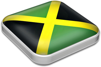Flag of Jamaica with metallic square frame
