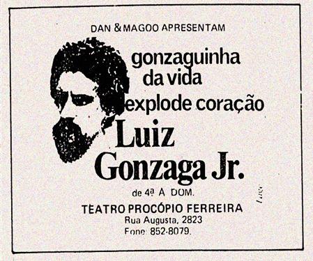 anuncio show de Gonzaguinha em São Paulo Explode coração de 1979