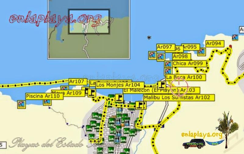 Mapa de Playas sector Ocumare de la Costa, Estado Aragua, Venezuela