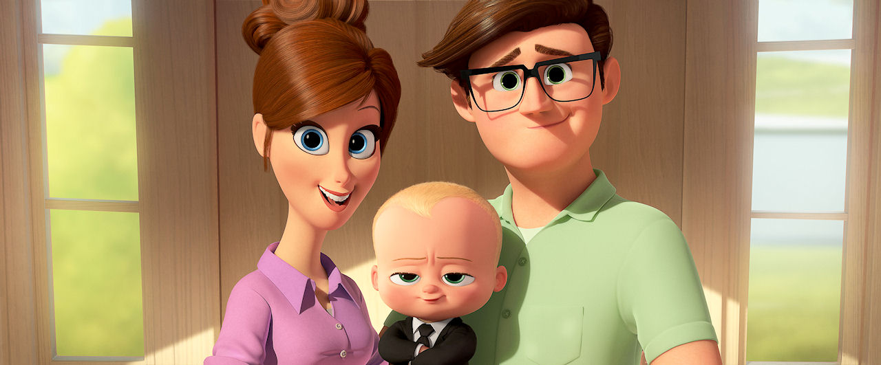 Tim's mother (voiced by Lisa Kudrow) and father (voiced by Jimmy Kimmel) with Boss Baby (voiced by Alec Baldwin) in THE BOSS BABY. (Photo courtesy of DreamWorks Animation).