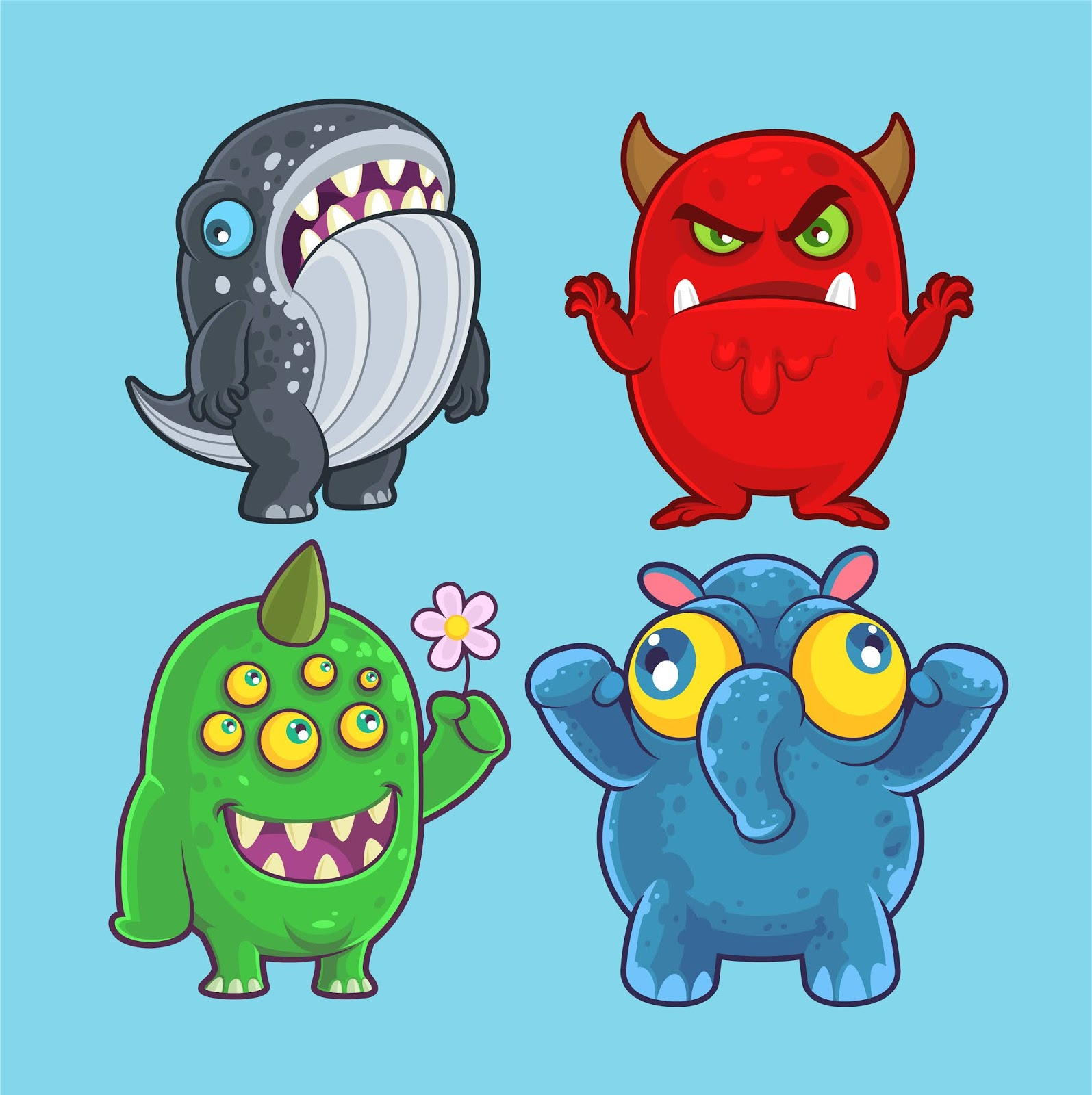 Cute Monsters Set Illustration Design Free Download Vector CDR, AI, EPS and PNG Formats