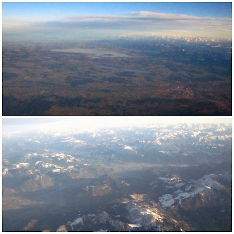 Flight over Munich and the Alps