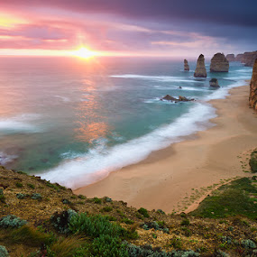 As Aeons Pass... by Jason Asher - Landscapes Waterscapes ( water, 12 apostles national park, port campbell, great ocean road, cliffs, grass, waterscape, moss, monoliths, sea, rock, ocean, seascape, 12 apostles, apostle, sun, national park, sunset, victoria, apostles, rocks )