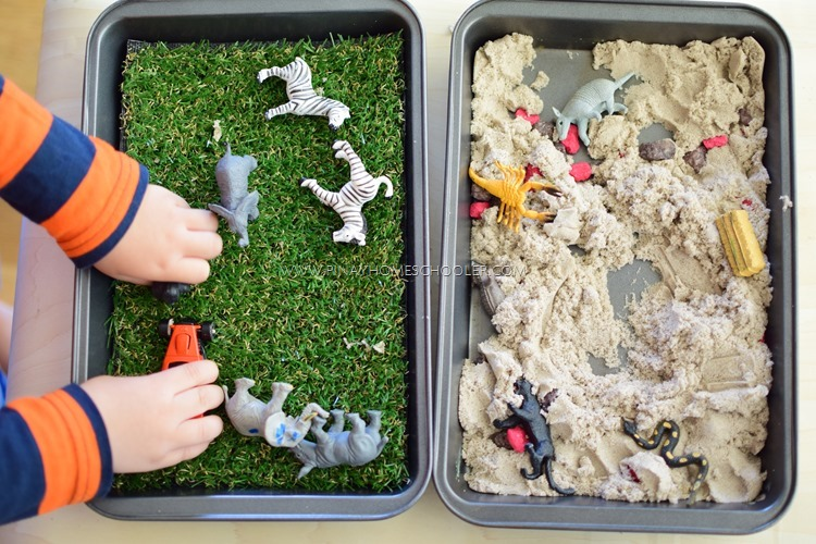 Preschool Animal Habitats using Sensorial Materials