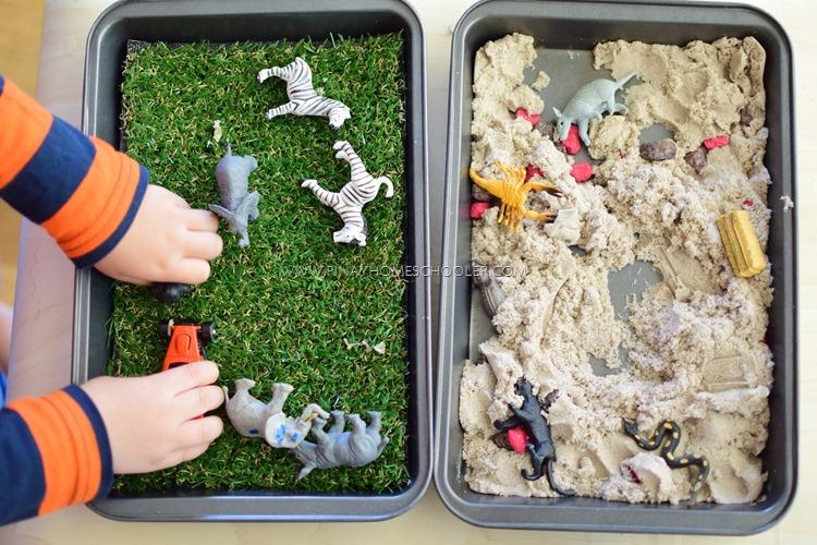 Preschool Animal Habitats using Sensorial Materials