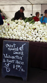 Some of the offerings at the Hollywood Farmers market on Saturdays - onions, lots of onions