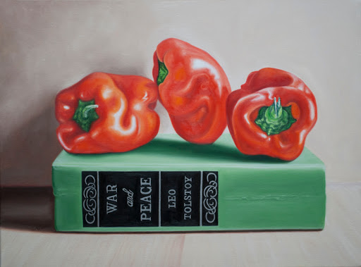 "War and Peace and Peppers 18"" by 24"" oil on canvas. Artist Judy Prisoc"