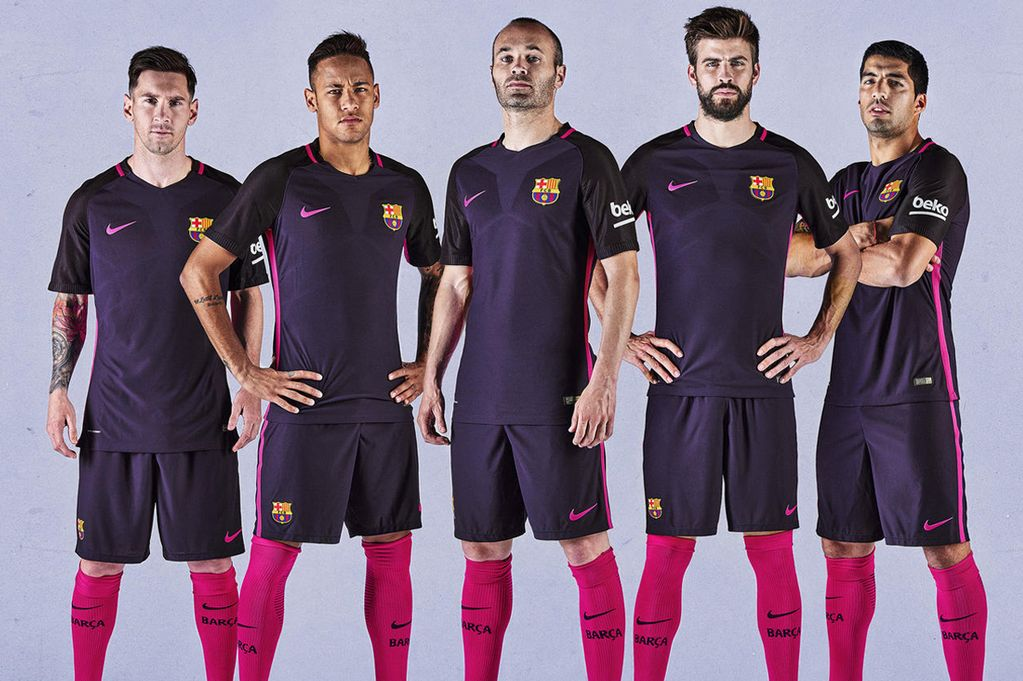 pretty nice 52e12 0a186 Purple and Pink: Lionel Messi, Neymar and Luis Suarez model ...