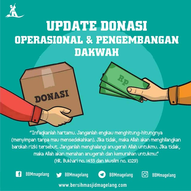 Update Donasi Operasional dan pengembangan dakwah Tim Bersih-bersih Masjid Magelang 09 November 2018