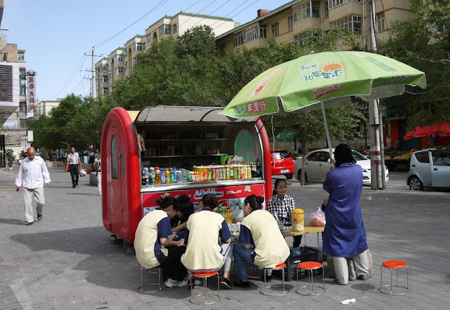 drink stand on sidewalk in Xining, Qinghai, China