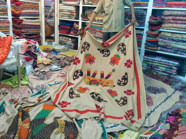 Shopping for embroidery work at Jaisalmer