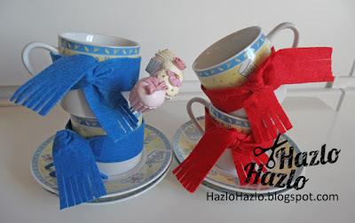 Cómo decorar tazas con fieltro.