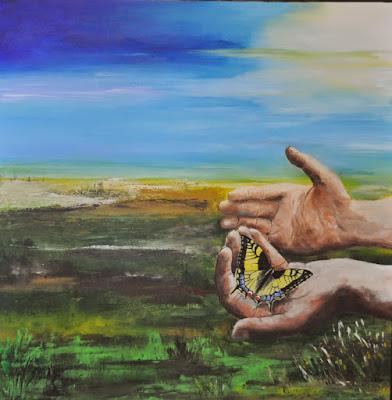 2015 De natuur in de hand (acryl op doek, 80x80 cm)