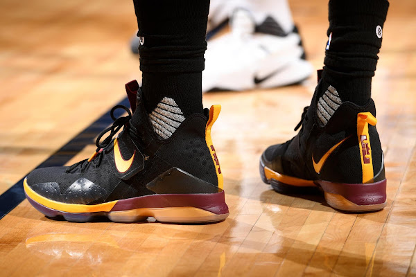LBJ Debuts New Cavs Themed Nike LeBron 14s  in Denver Charlotte