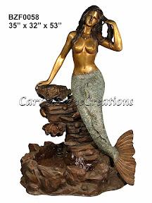 Bronze, Fountain, Mermaid, Statue
