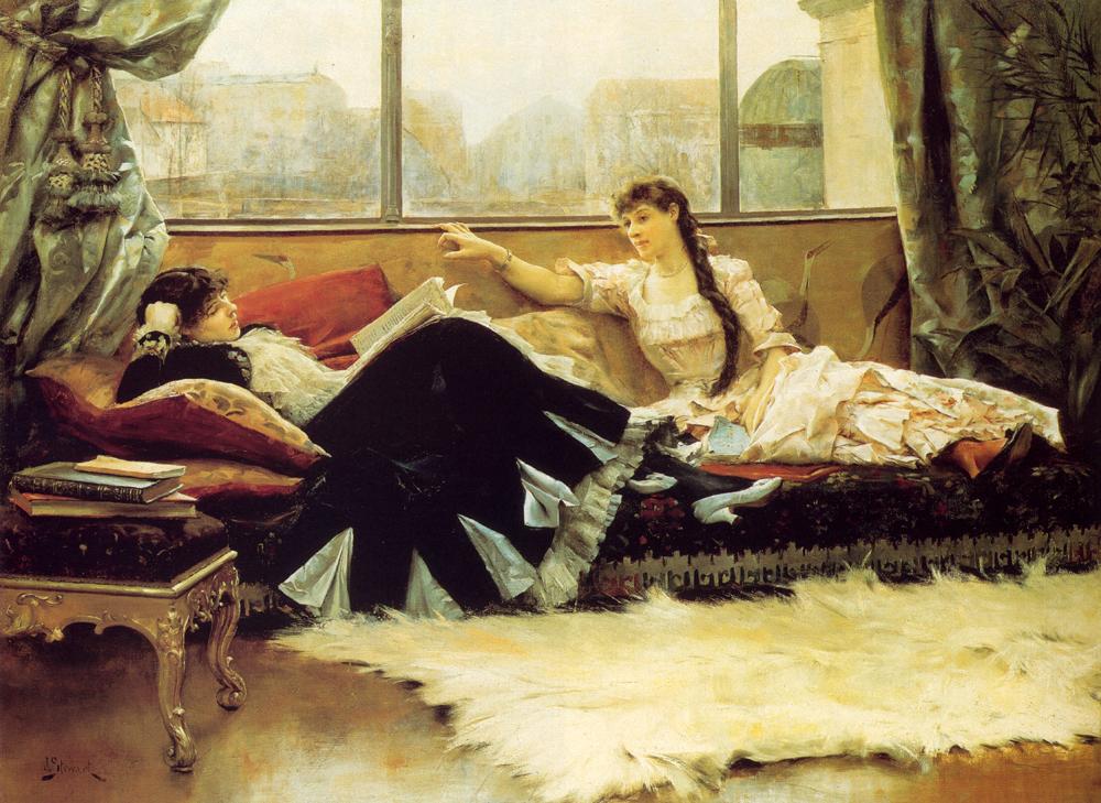 Julius Leblanc Stewart - Sarah Bernhardt (1844-1923) and Christine Nilsson (1843-1921)