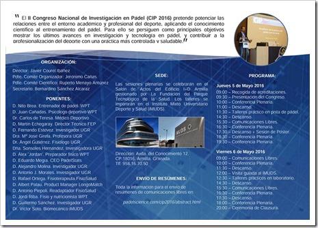 Tríptico II Congreso Nacional Investigación en Pádel 2016: PROGRAMA E INFORMACIÓN COMPLETA_2