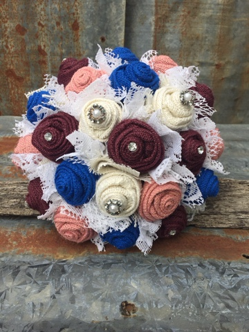 burlap and lace wedding flowers