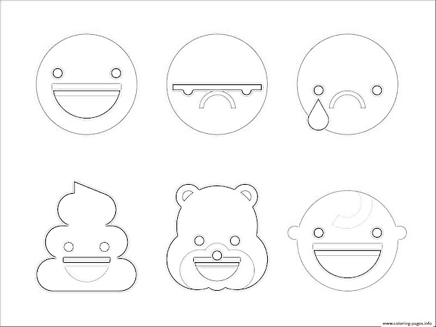 Print Emoji Poop Cry Happy Smile Bear Emoticon Coloring Pages