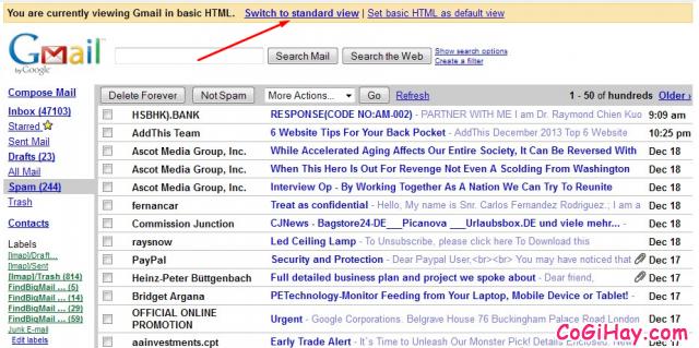 Giao diện gmail ở chế độ HTML Cơ bản rất gọn nhẹ