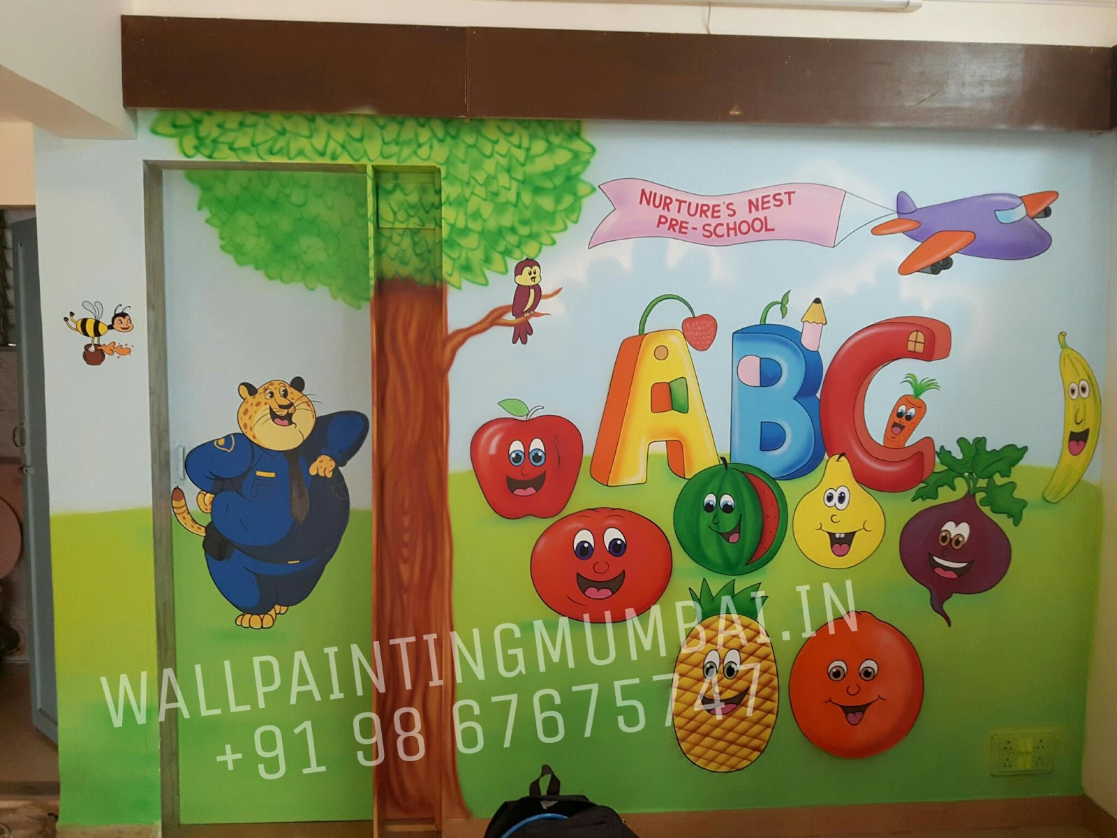 Family Tree Murals For Walls Kids Room Cartoon Painting Pre School Cartoon Wall
