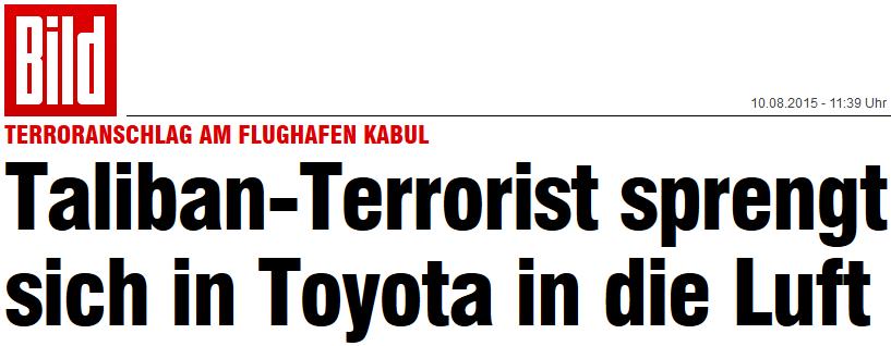Taliban-Terrorist sprengt sich in Toyota in die Luft