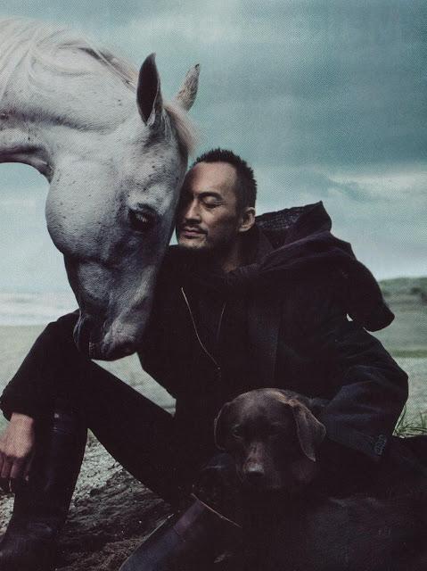 Ken Watanabe, a horse, and a dog