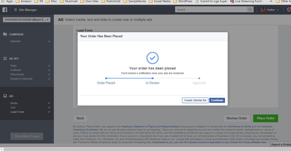 Facebook Ads Ad Lead Form Order Placed