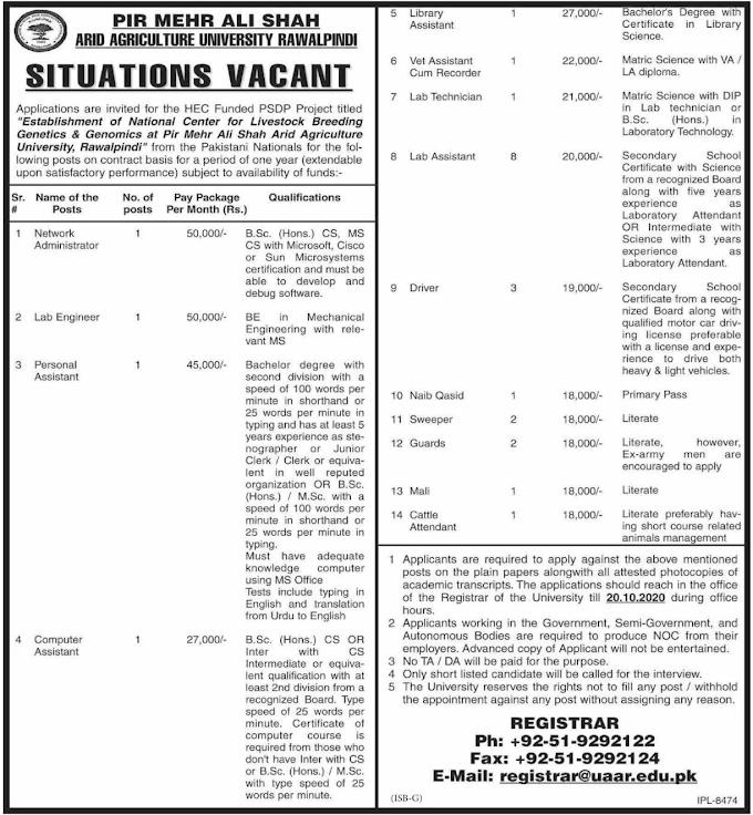 Agriculture University Rawalpindi Jobs October 2020
