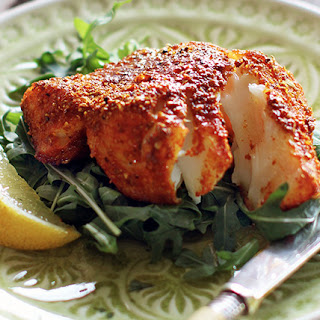Halibut with Indian spices.