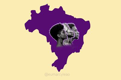 Imagem do mapa do Brasil, e ao centro o rostos de perfil e uma mulher negra, um indígena brasileiro e um homem negro