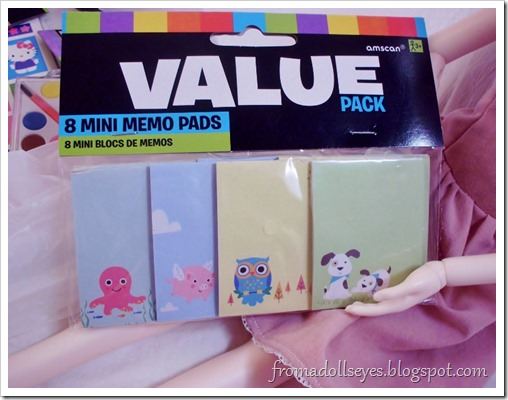 Finding Doll Props: At The Party Store? Cute tiny memo pads