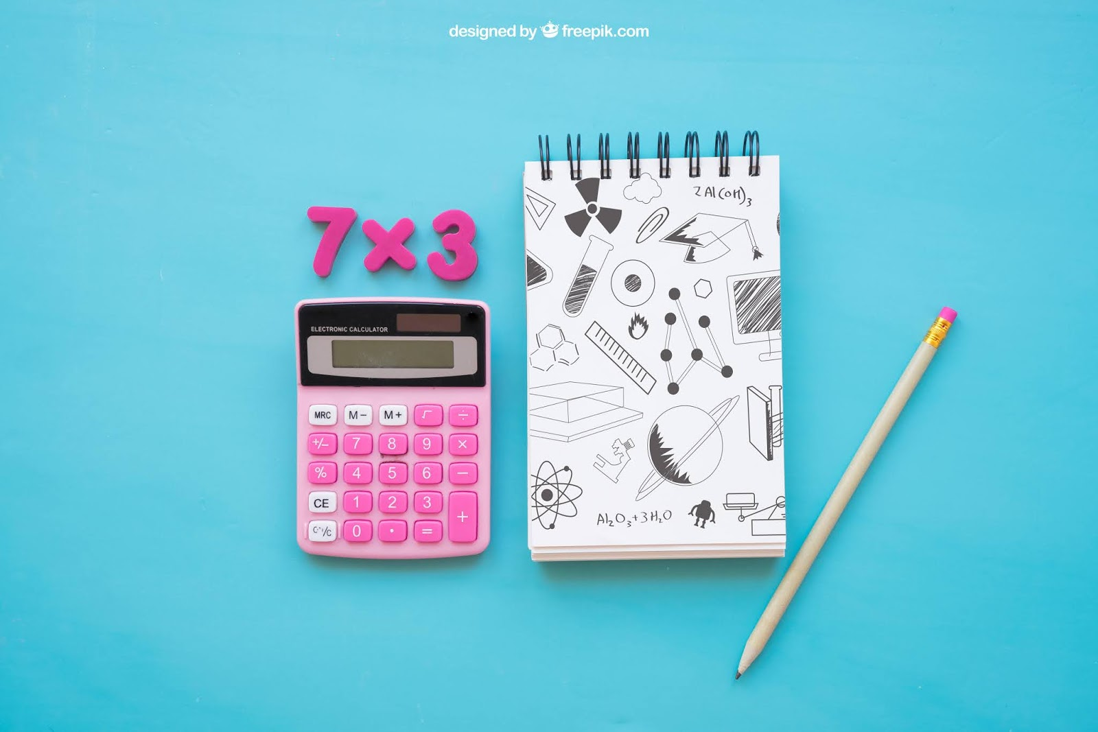 Back School Composition With Notepad Calculator Free Download Vector CDR, AI, EPS and PNG Formats