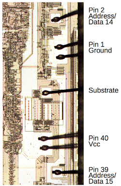 Each pad on the die of the 8087 FPU chip is wired to one of the 40 pins of the chip. But there is one extra wire between pins 1 and 40. It is connected to the chips's substrate.